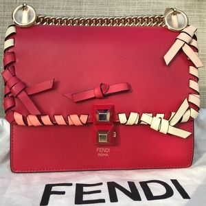 Brand New FENDI Red Leather Whip-Stitch Flap Bag